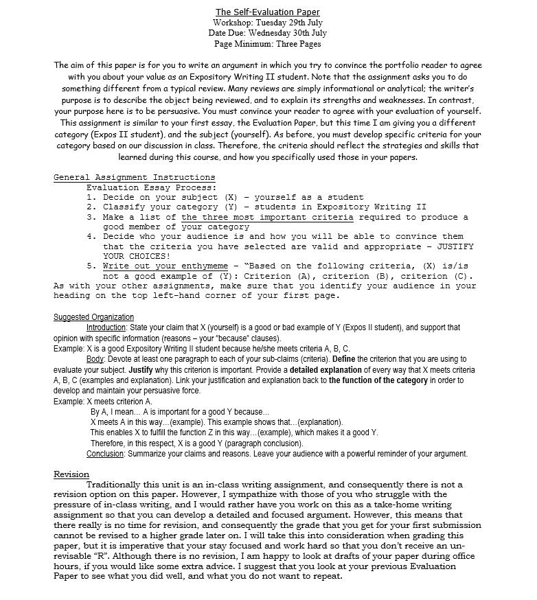 Evaluation argument essay