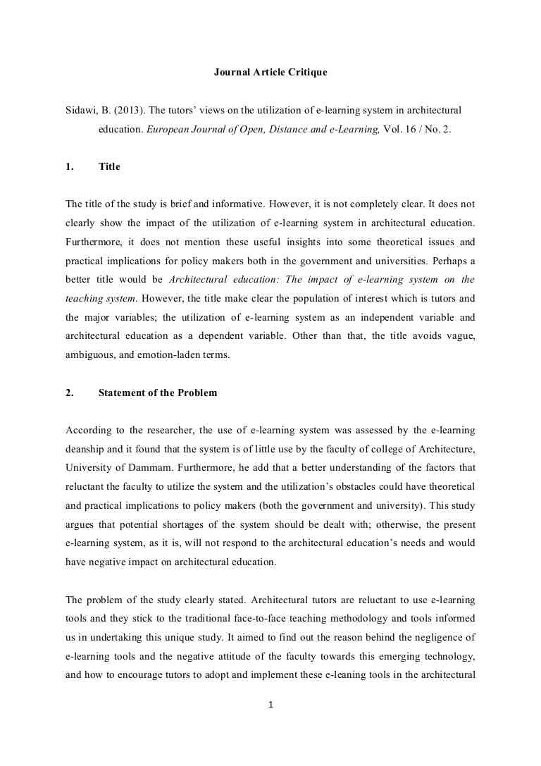 The Story Of An Hour Analysis Essay Order  Article Critique Example Essays On Martin Luther also Essay Of My Home How To Critique An Article All You Need To Know  Assignmentpaycom Hotel Management Essay