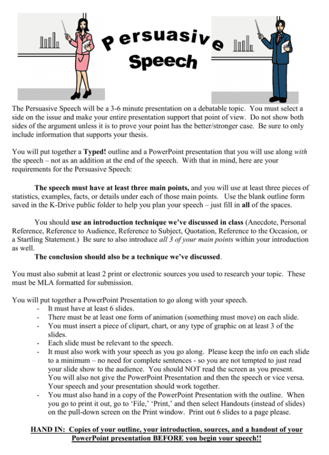 Easy tips for persuasive speech example