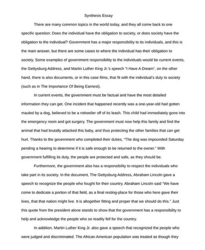 What Is The Thesis Statement In The Essay  Animal Testing Essay Thesis also Compare And Contrast Essay Topics For High School  Synthesis Essay Examples Which Will Inspire You  Example Of Essay Writing In English