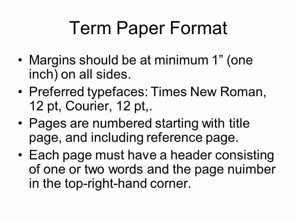 sample term paper format